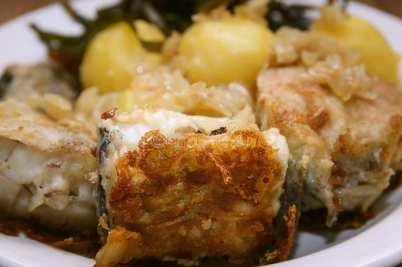 Stekt fisk och kokta potatisar på en platta royaltyfri bild