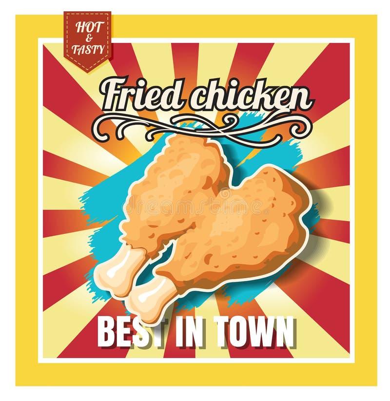Stekt kyckling för meny för snabba Foods för restaurang på härlig bakgrund stock illustrationer