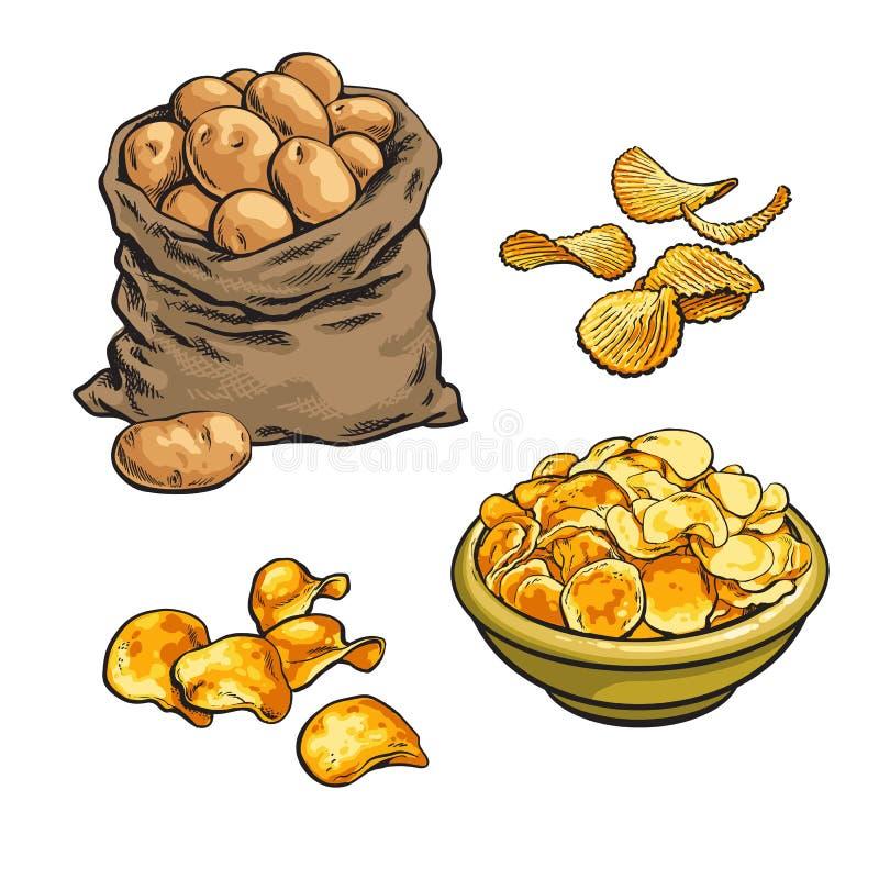 Stekt potatischiper och nytt royaltyfri illustrationer