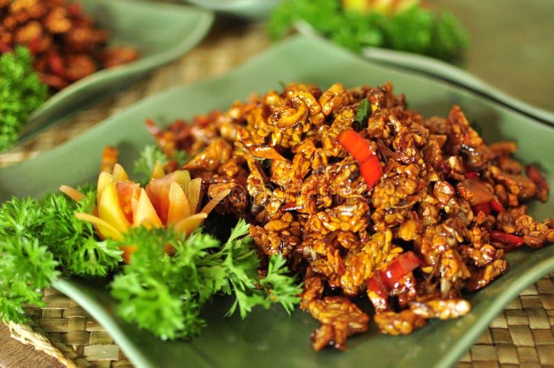 Stekt tofubali stil, asiatisk sund läcker mat arkivbilder