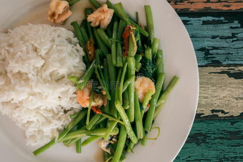 Stekt under omrörning kinesisk morgonhärlighet (thai mat) fotografering för bildbyråer