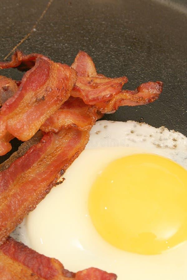 stekt vertical för bacon ägg royaltyfria bilder