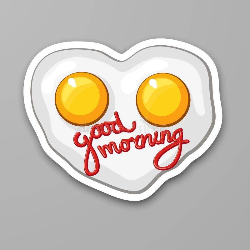 Stekte ägg i hjärtaform förvanskat ägg den antika koppen för affärskaffeavtalet danade för pennplatsen för den nya goda morgonen  stock illustrationer