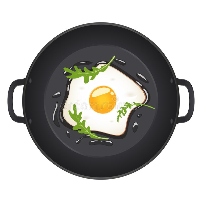 Stekte ägg med arugula på stekpannan, bästa sikt bakgrund isolerad white också vektor för coreldrawillustration royaltyfri illustrationer