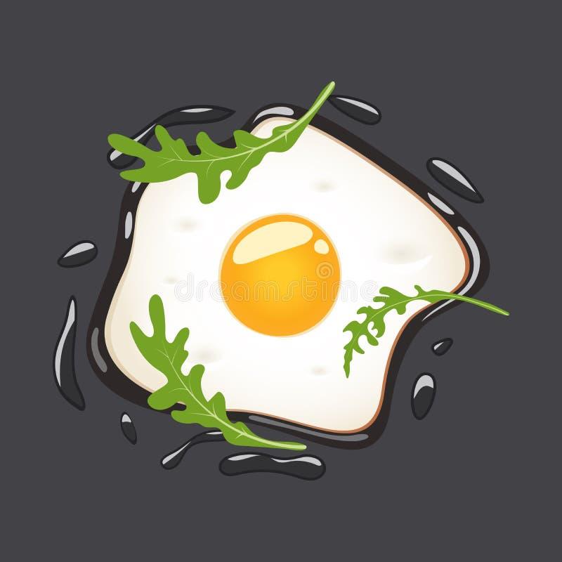 Stekte ägg med arugula som isoleras på grå bakgrund också vektor för coreldrawillustration stock illustrationer