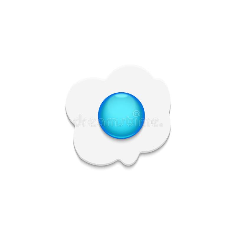 Stekte ägg med bästa sikt för blå äggula som isoleras på den vita bakgrunden, är en begreppsmässig vektorillustration av sunt äta vektor illustrationer