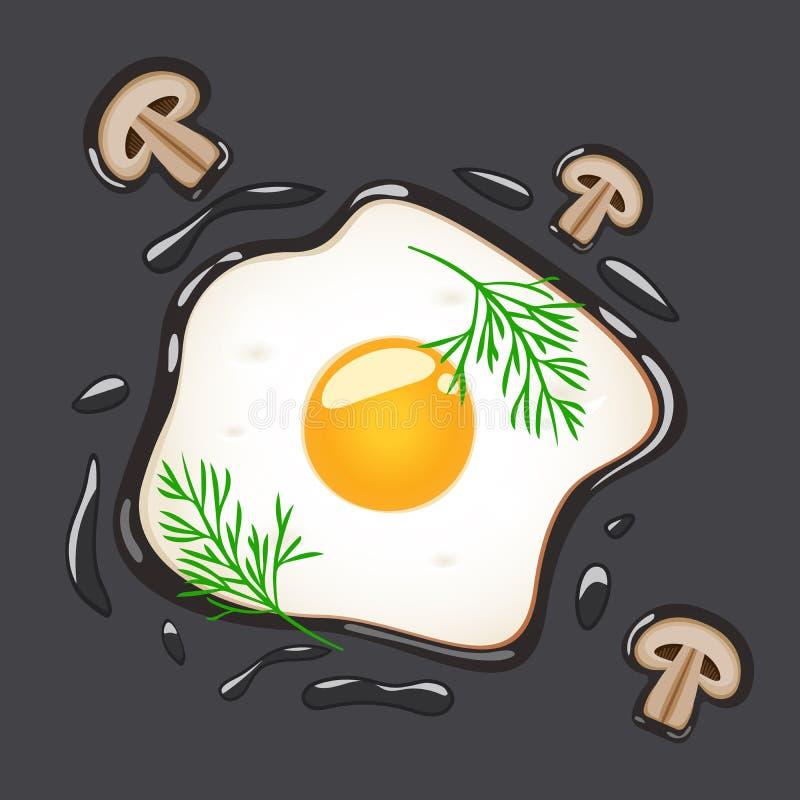 Stekte ägg med dill och champinjoner som isoleras på grå bakgrund också vektor för coreldrawillustration stock illustrationer