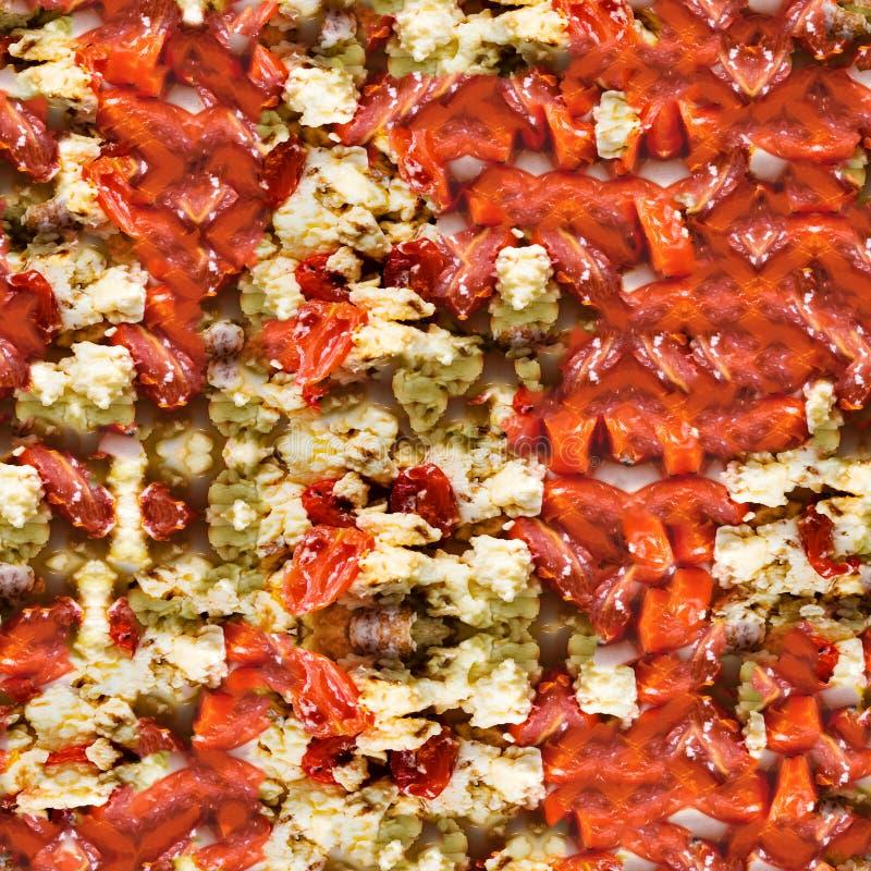 Stekte ägg med skivor av tomater i sömlös modell för platta royaltyfri bild