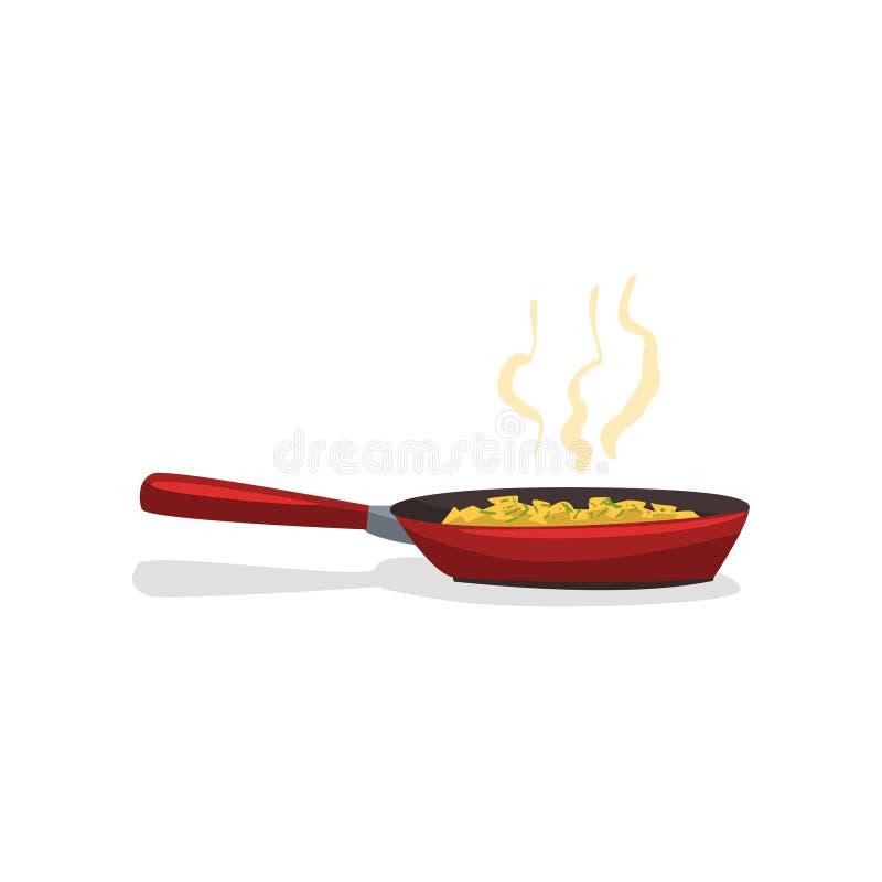 Stekte potatisar med kryddor i en stekpannavektorillustration på en vit bakgrund stock illustrationer