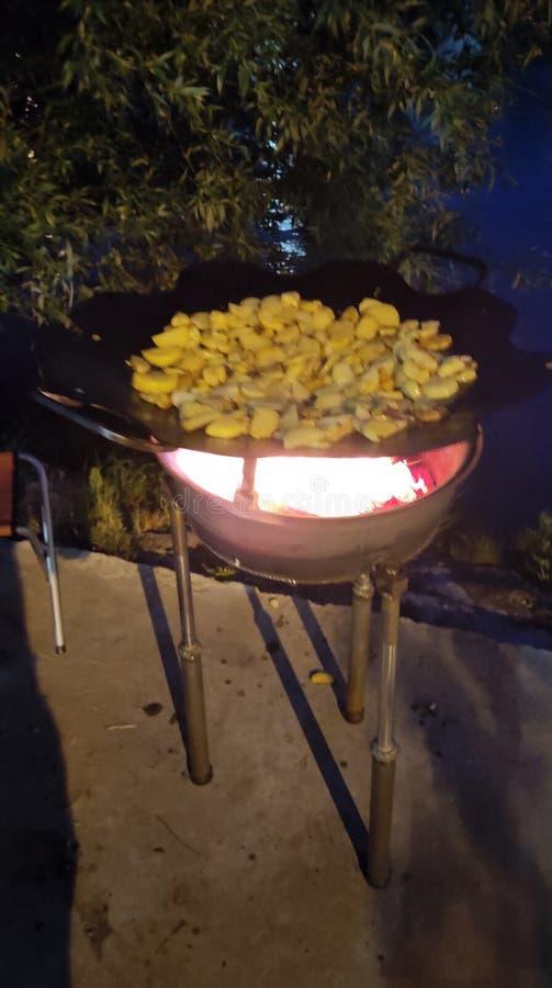 stekte potatisar vid floden arkivfoto