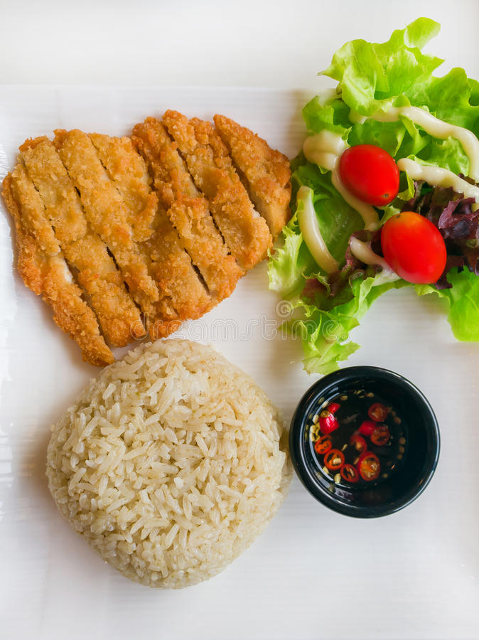Stekte ris med hönagräsplancurry royaltyfria foton