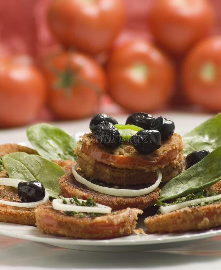stekte tomater arkivfoton