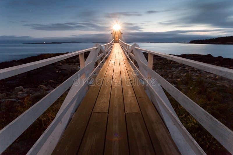Stel de Vuurtoren van het Punt bij zonsondergang op, Maine, de V.S. royalty-vrije stock afbeelding