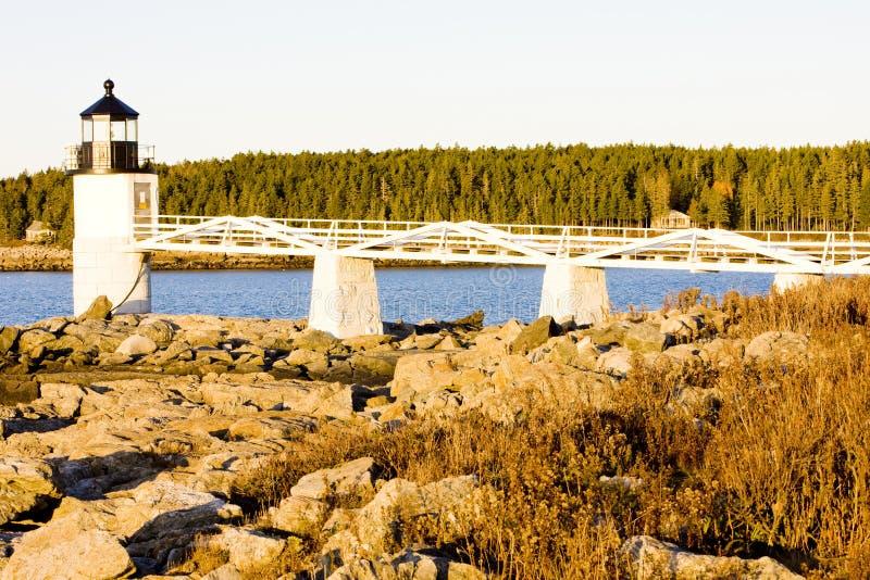 Stel de Vuurtoren van het Punt, Maine, de V stock foto