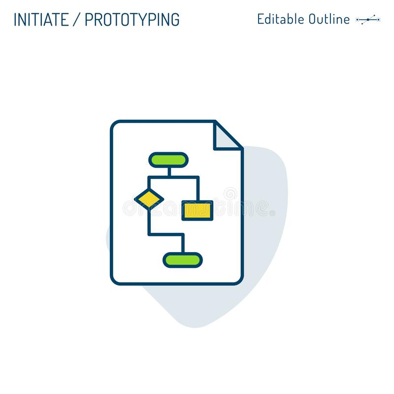 Stel pictogram, Planningspictogram, Prototype, Software-ontwikkelingproces, het Coderen stroomschema, Computer programmeertaal, P royalty-vrije illustratie