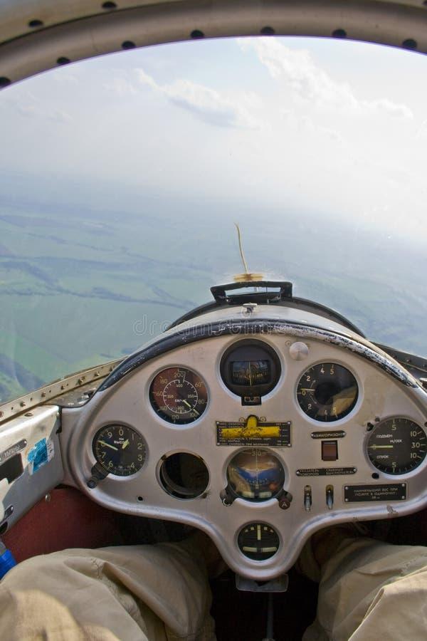 Stel zweefvliegtuig in werking stock fotografie