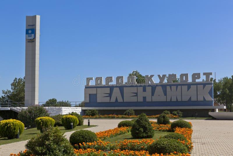 Stela на входе город Gelendzhik стоковая фотография