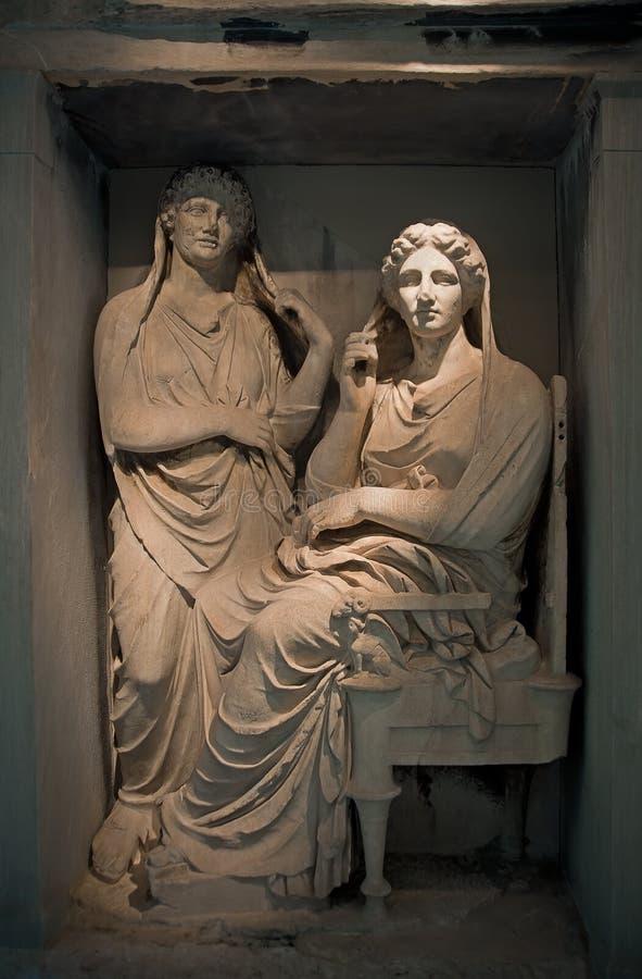 Stele de Demetria e de Pamphile, Kerameikos, Atenas, Grécia fotos de stock royalty free
