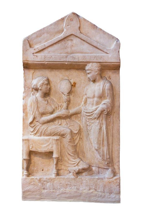 Stele grave de mármore de Mika e de Dion (400 B.C.) foto de stock royalty free