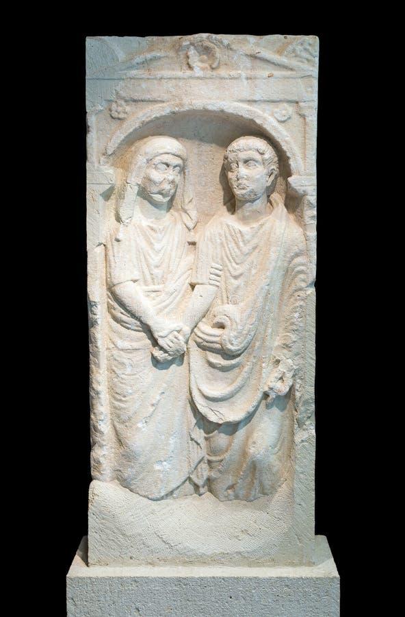 Stele romano da sepultura do arenito da era fotografia de stock