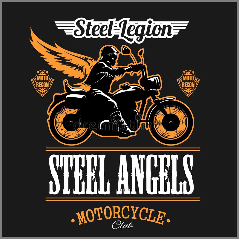 Stell Angels - Custom motorcycles club Badge or Label With biker, wings and flame. Stell Legion. vector illustration