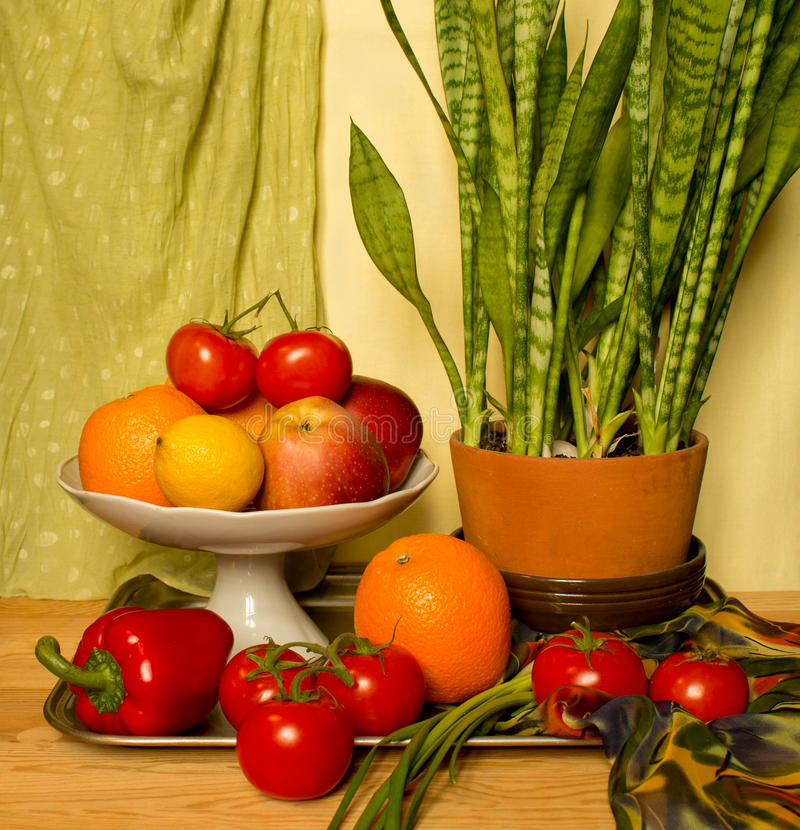 Still life with flower and fruits stock photos