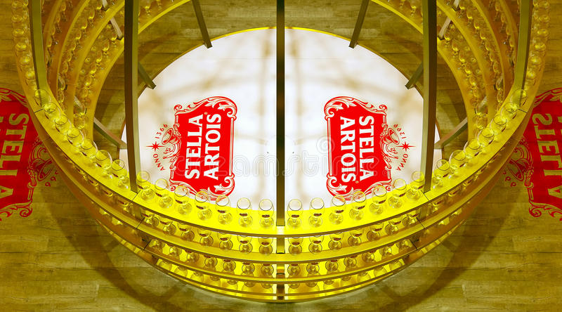 Stella artois beer glass display. Beer glass display of belgian brew house stella artois at level 1 of pacific place shopping mall in hong kong. the toasting stock photo