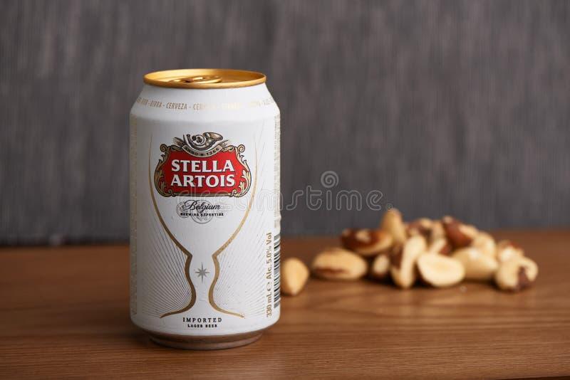 Stella Artois kan royaltyfria bilder