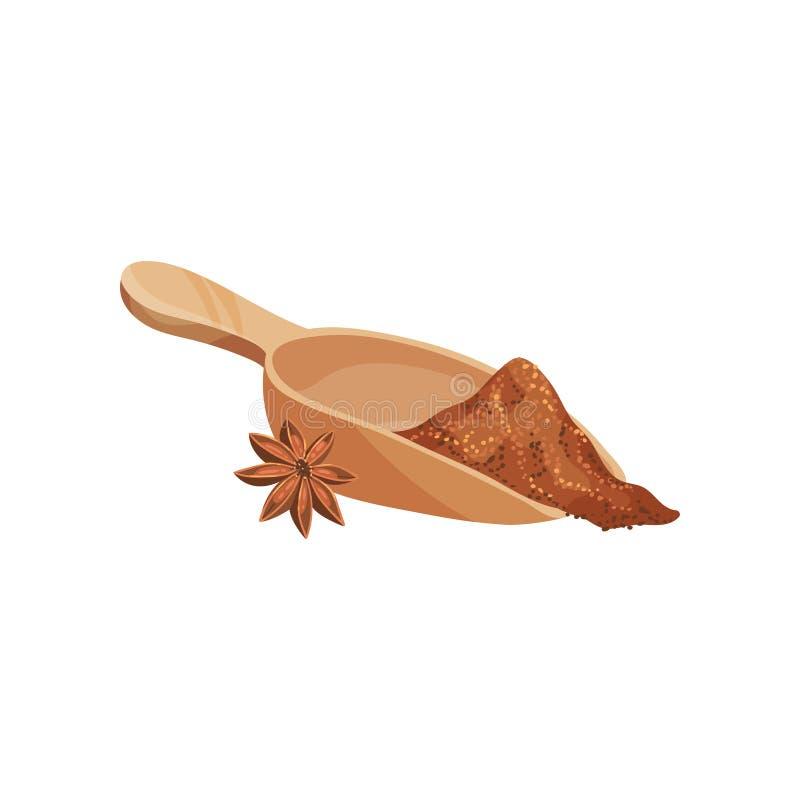Stella asciutta dell'anice e pala di mestolo di legno con cannella a terra Spezia aromatica Condimento fragrante Progettazione pi illustrazione vettoriale