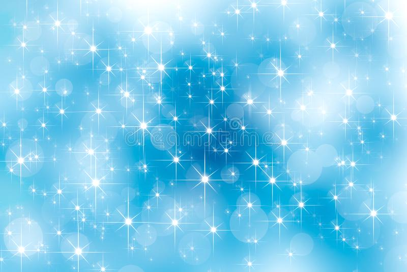 Stella astratta dello shinnig del chiarore della lente ed effetti luminosi del bokeh su cielo blu Effetto delle luci d'ardore Pri royalty illustrazione gratis