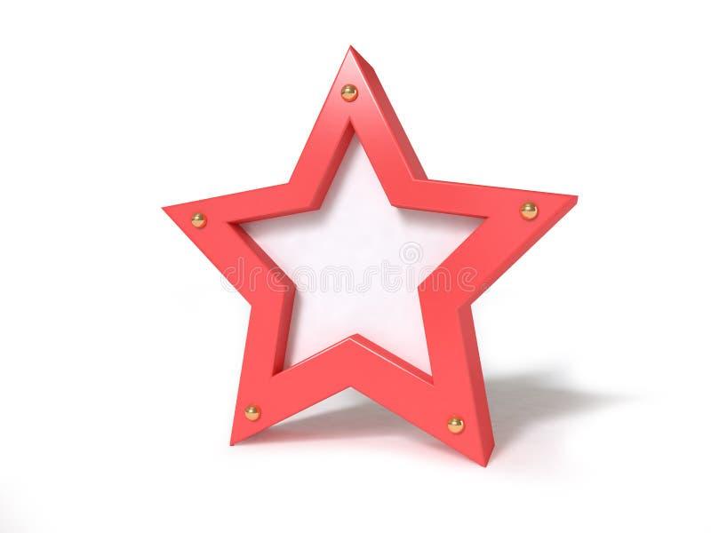 Stella bianca rossa 3d rendere illustrazione vettoriale