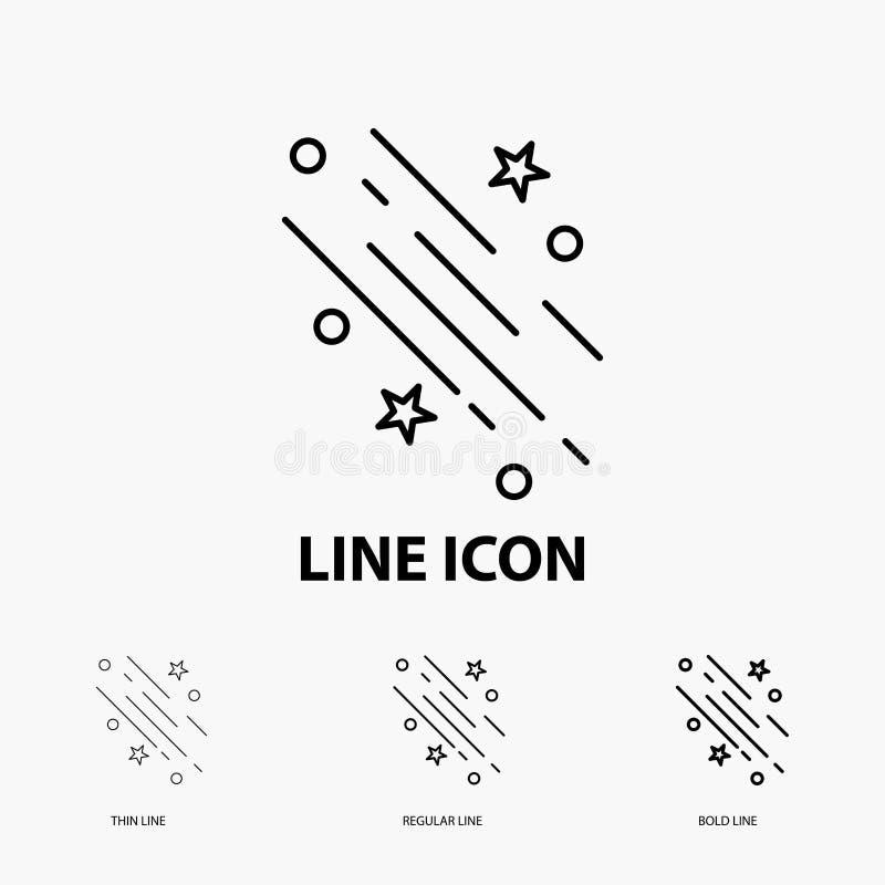stella, stella cadente, cadere, spazio, icona delle stelle nella linea stile sottile, regolare ed audace Illustrazione di vettore illustrazione di stock