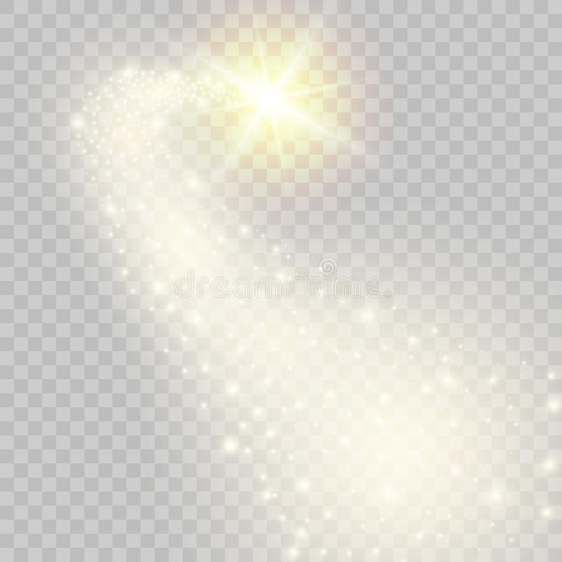 Stella cadente dorata scintillare di vettore Illustrazione di vettore royalty illustrazione gratis