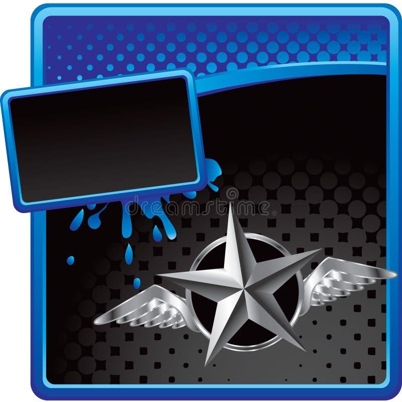 Stella d'argento con le ali sulla pubblicità di semitono illustrazione vettoriale