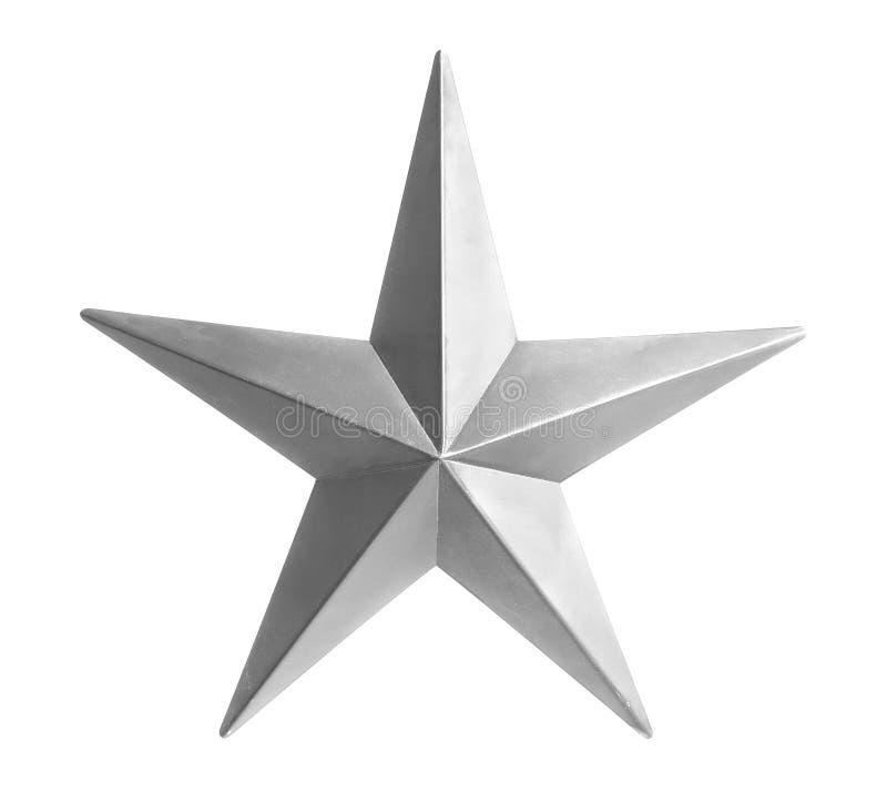 Stella d'argento isolata sopra priorità bassa bianca fotografia stock libera da diritti
