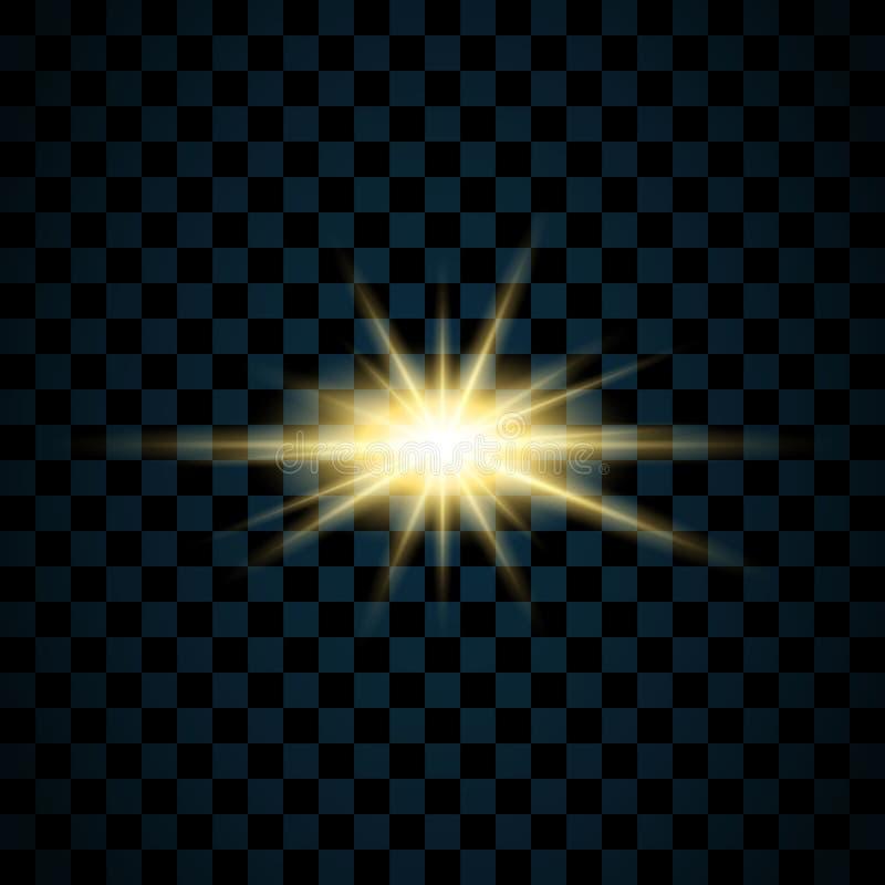 Stella d'oro della scintilla, fondo trasparente isolato Effetto di lustro di incandescenza Scoppio magico dorato con scintillio,  illustrazione vettoriale