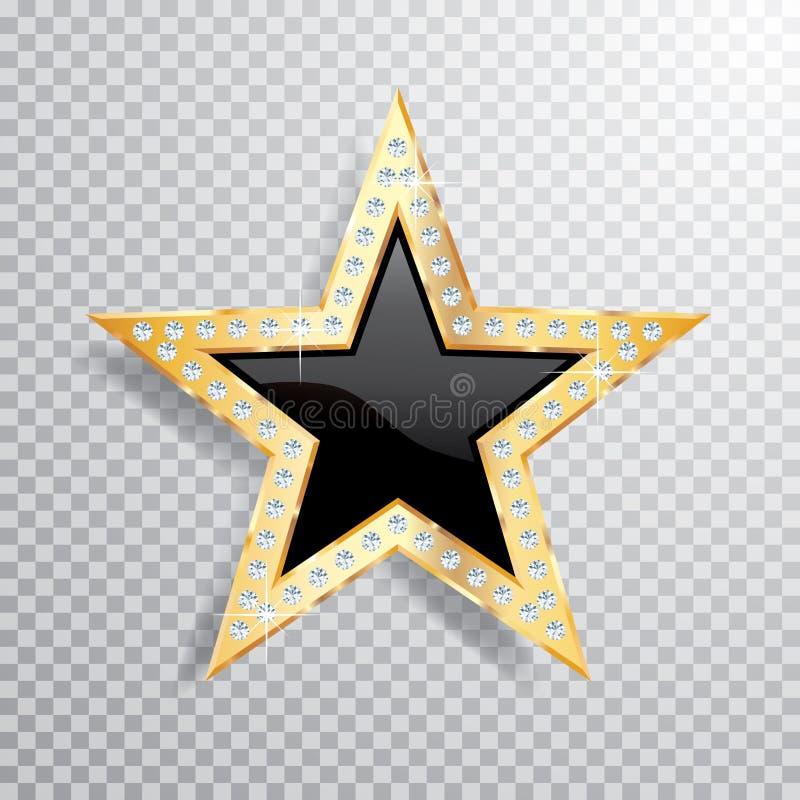 Stella del nero dell'oro della gemma illustrazione vettoriale