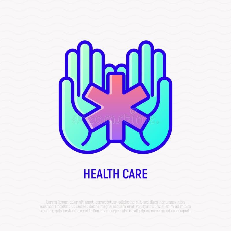 Stella del simbolo in mani, icona medica di vita di aiuto illustrazione di stock