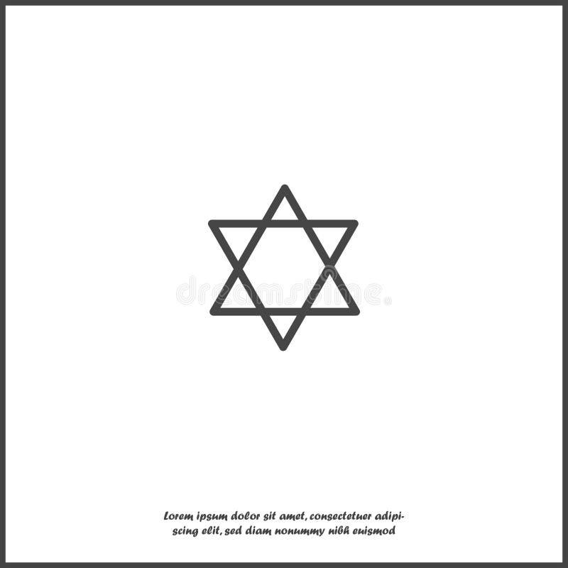Stella dell'icona di vettore da due triangoli Illustrazione di una stella a cinque punte su fondo isolato bianco illustrazione di stock