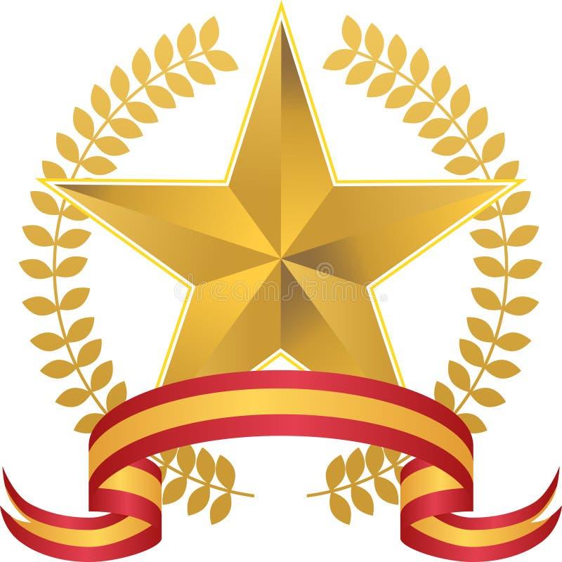 Stella dell'oro con la corona illustrazione di stock