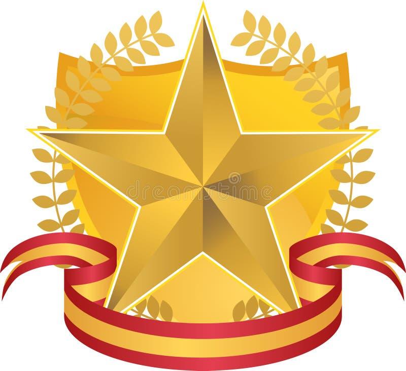 Stella dell'oro con la corona e lo schermo royalty illustrazione gratis