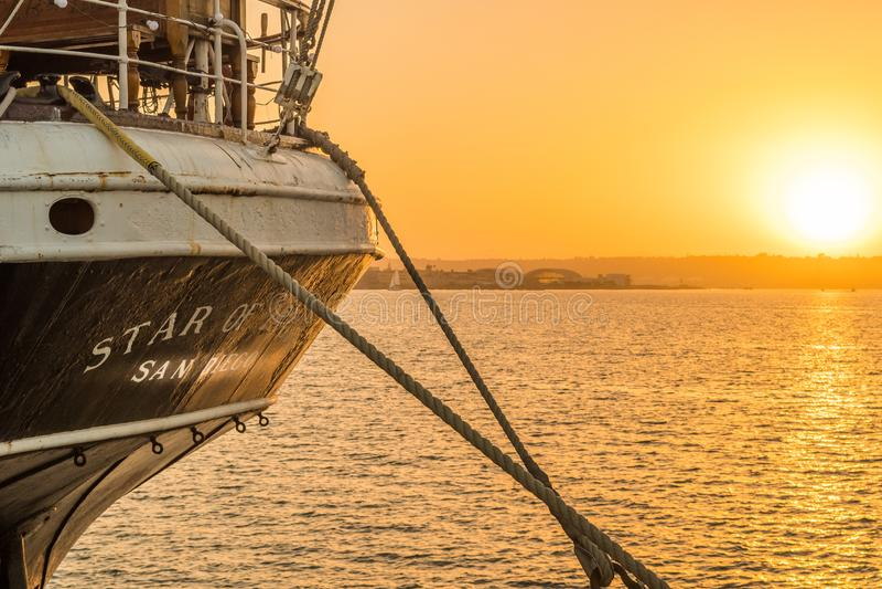 Stella della nave dell'India messa in bacino in San Diego Harbor fotografia stock libera da diritti