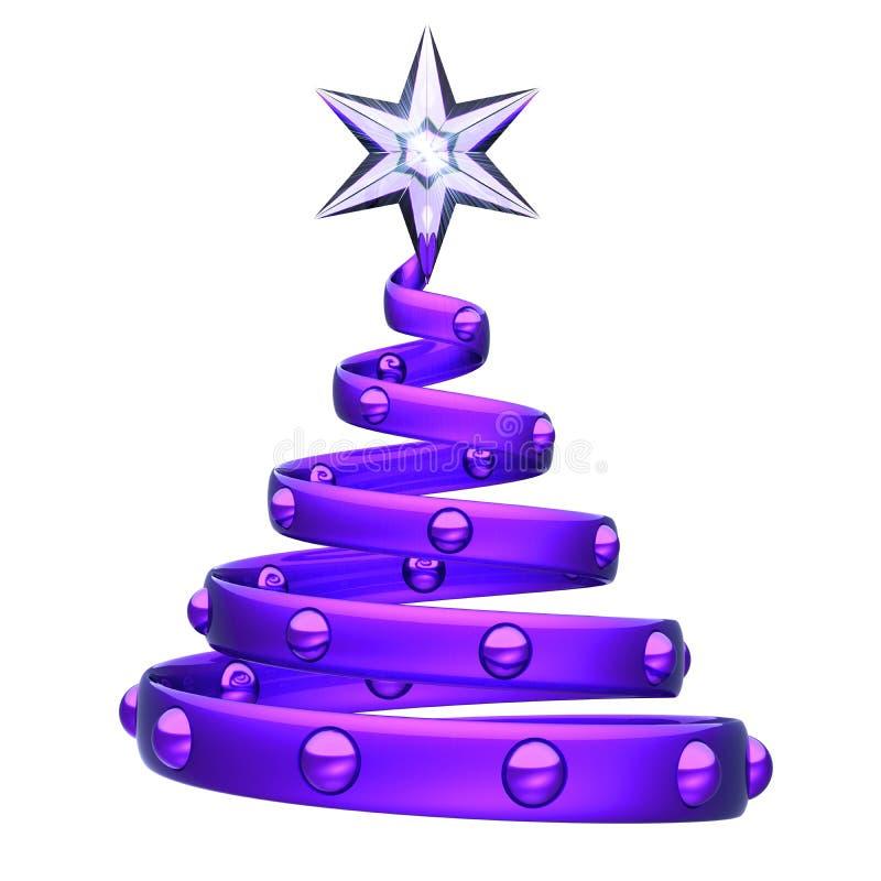 Stella di cristallo dell'albero di Natale della decorazione porpora astratta dell'elica sulla cima illustrazione di stock
