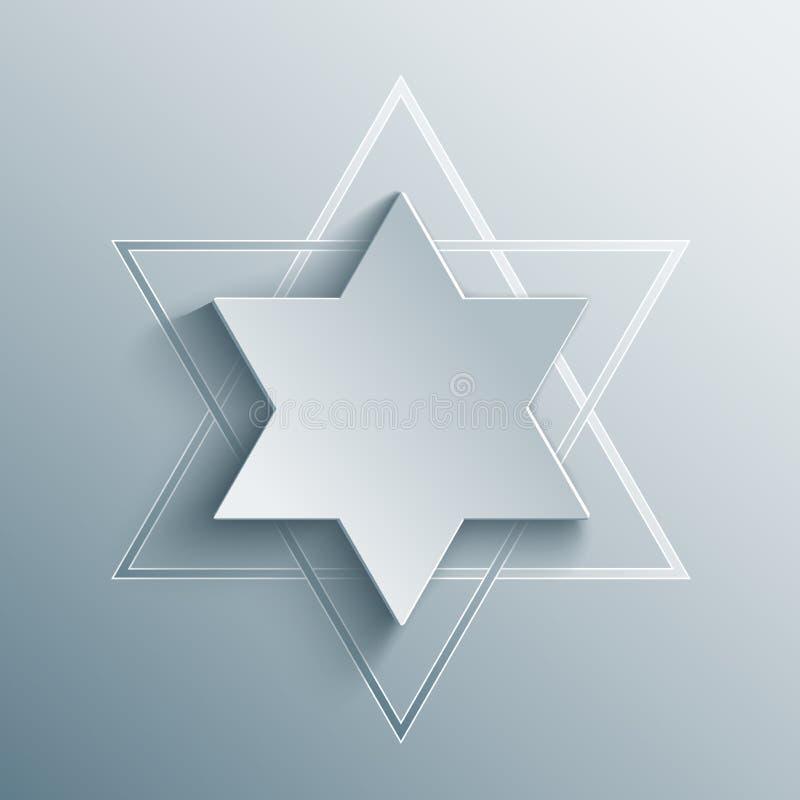 Stella di Davide Magen David, simbolo religioso di vettore illustrazione di stock