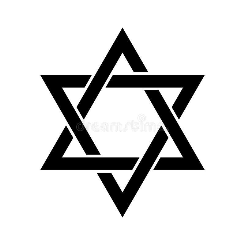 Stella di Davide Segno di Hexagram Simbolo dell'identità e del giudaismo ebrei Illustrazione semplice del nero piano illustrazione di stock