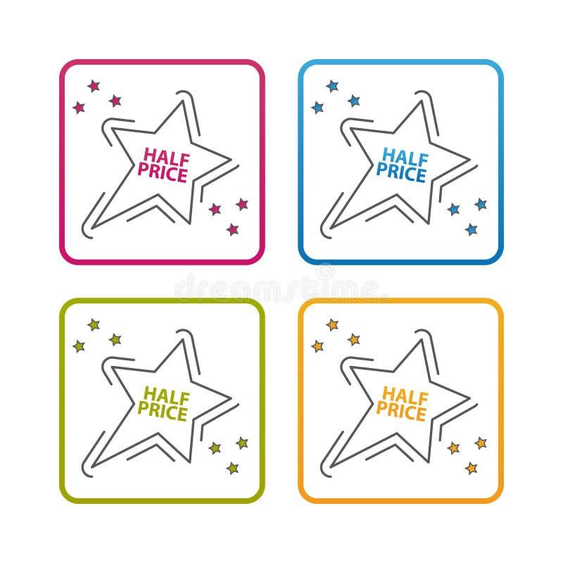 Stella di metà prezzo - profilo ha disegnato l'icona - colpo editabile - illustrazione variopinta di vettore - isolato su fondo b royalty illustrazione gratis