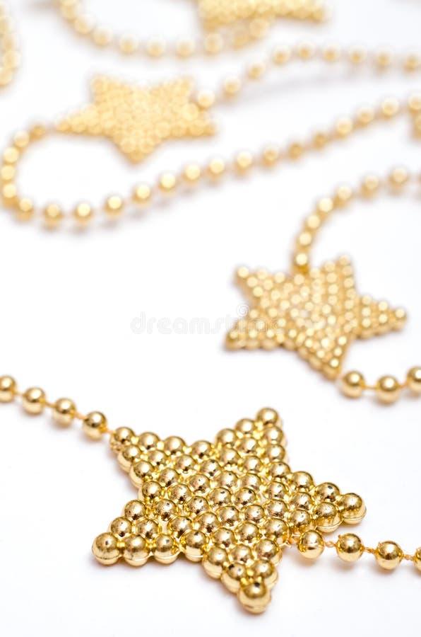 Stella di Natale con le perle dorate fotografie stock