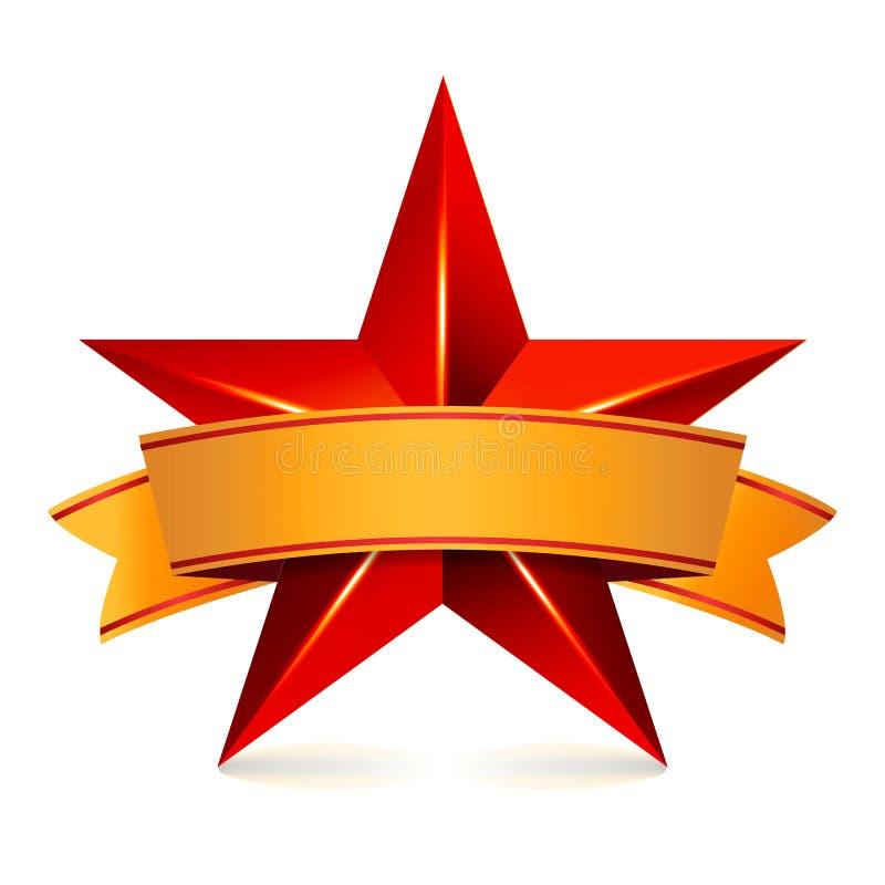 Stella di vettore di risultato con il nastro giallo Posto rosso del segno per testo Simbolo dorato della decorazione 3d lustro O  illustrazione vettoriale