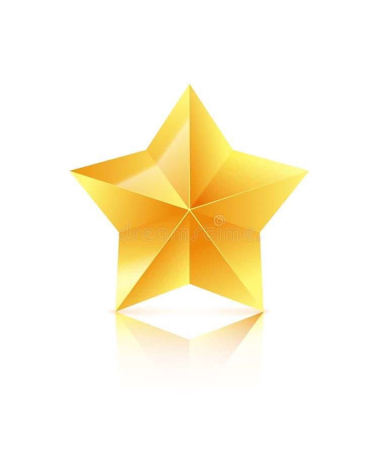 stella dorata 3D isolata su fondo bianco Icona del vincitore Illustrazione di vettore illustrazione di stock