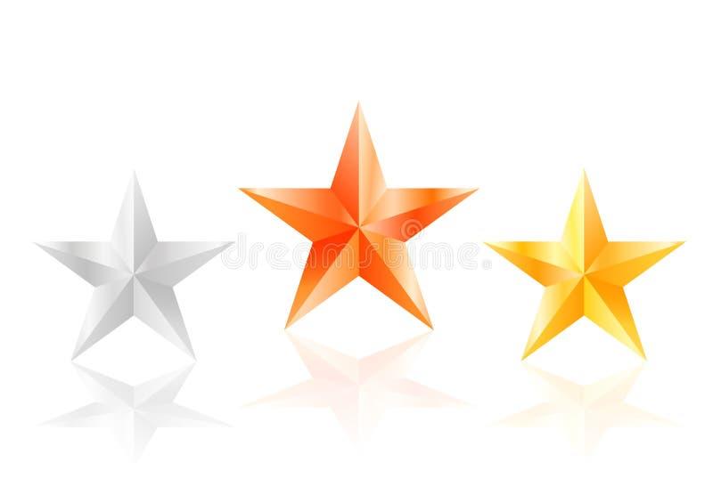 stella dorata del bronzo dell'argento delle stelle 3d con i lati illustrazione vettoriale